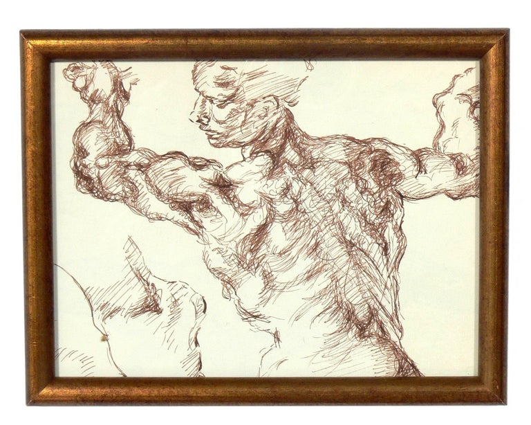 Glass Selection of Old Master Style Figural Drawings by Ana Rosa de Ycaza For Sale