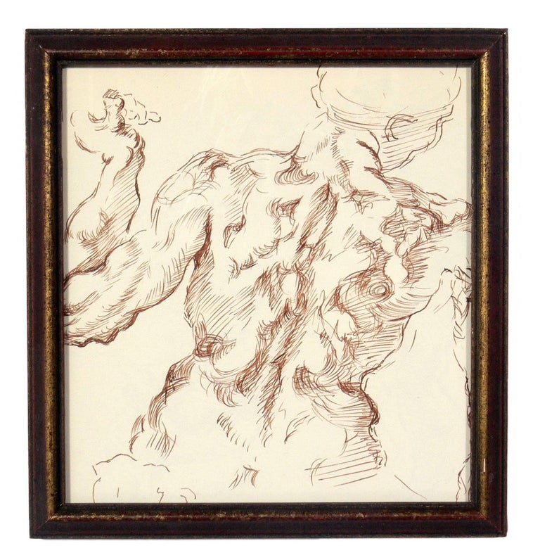 Selection of Old Master Style Figural Drawings by Ana Rosa de Ycaza In Good Condition For Sale In Atlanta, GA