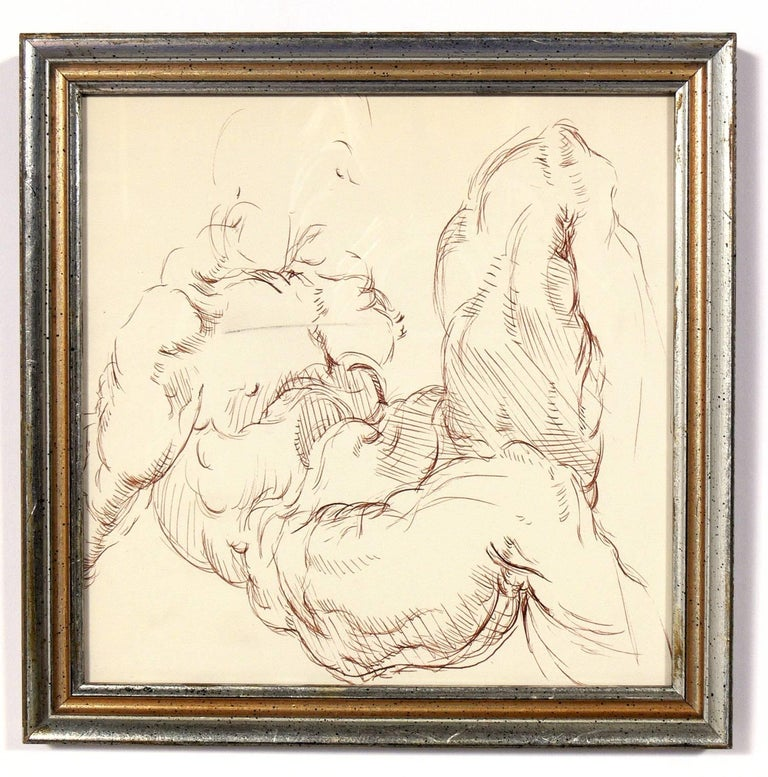 Greco Roman Selection of Old Master Style Figural Drawings by Ana Rosa de Ycaza For Sale