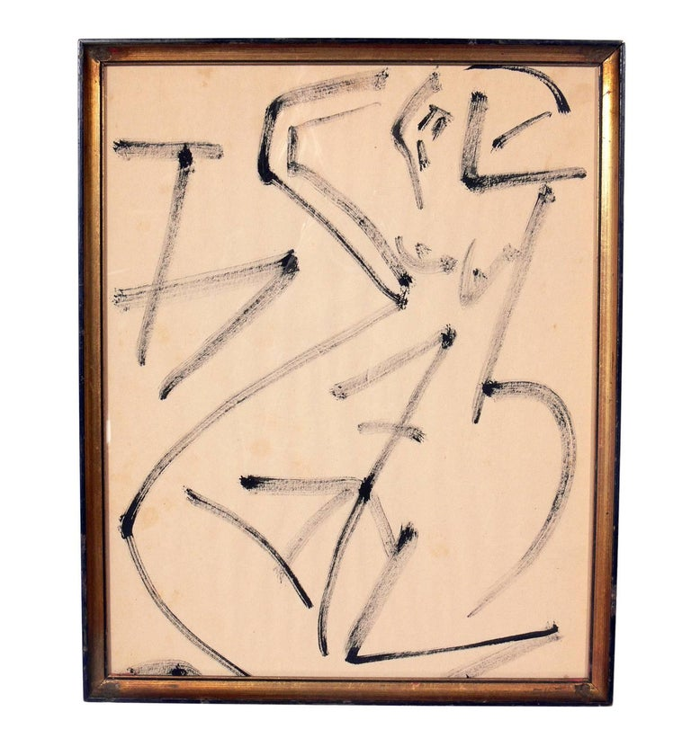 """Selection of Modern Art or Gallery Wall, circa 1950s-1960s.  From left to right, they are: 1) Abstract lithograph by Miro, from Derriere Le Miroir, circa 1950s. Seen at upper left in our first photo. It measures 14""""H x 7""""W. 2) Figural"""