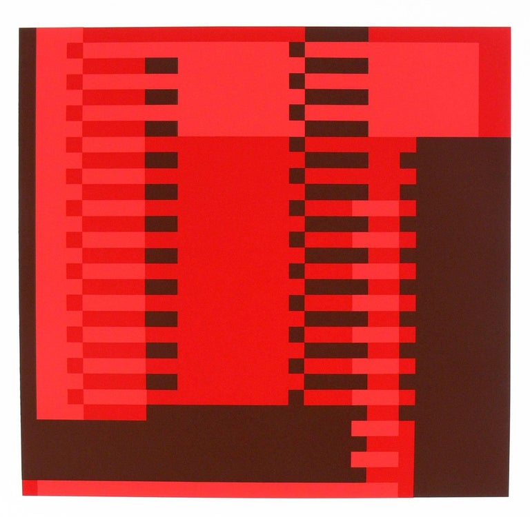 Josef Albers abstract lithograph from Formulation and Articulation, published by Harry N. Abrams Inc., New York, and Ives Sillman Inc., New Haven, circa 1972. This work is from Portfolio I, folder 22. It has been framed in a clean lined white