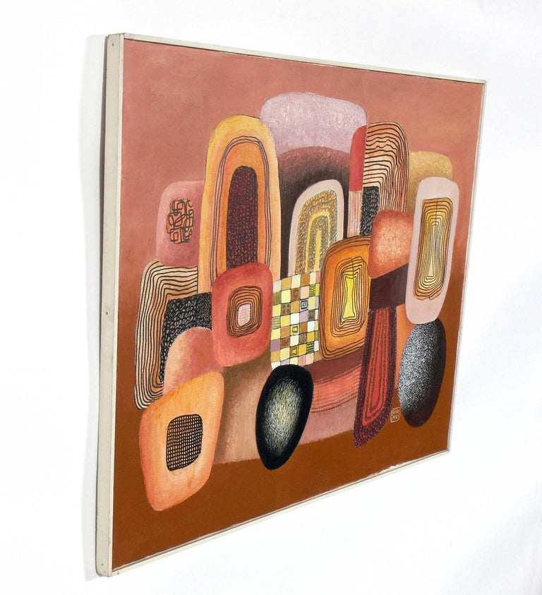 Mid-Century Modern Colorful Abstract Painting by George Saru