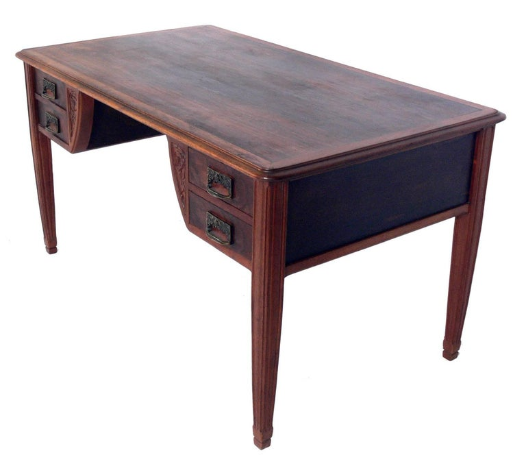 French Art Nouveau Rosewood Desk or Bureau Plat For Sale at 1stdibs