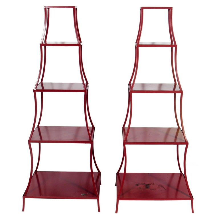 Pair of Chinese Red Pagoda Shelves