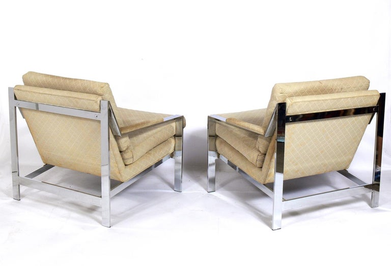 Mid-Century Modern Pair of Chrome Lounge Chairs by Cy Mann For Sale