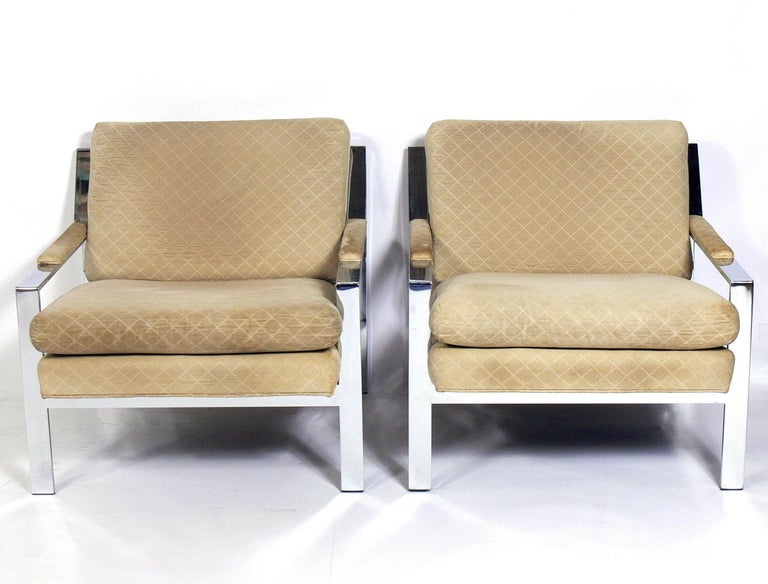 American Pair of Chrome Lounge Chairs by Cy Mann For Sale