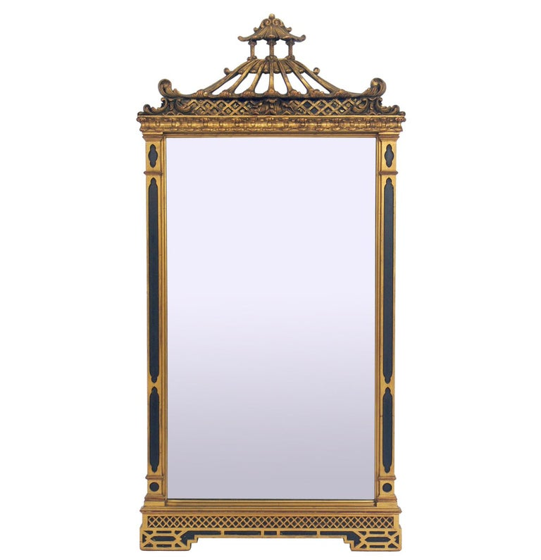 Black and Gold Gilt Chinoiserie Mirror