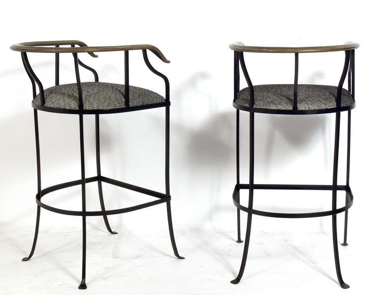 American Pair of Elegant Brass and Iron Bar Stools For Sale