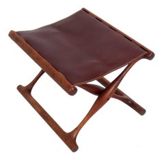 Danish Modern Leather Folding Stool by Poul Hundevad