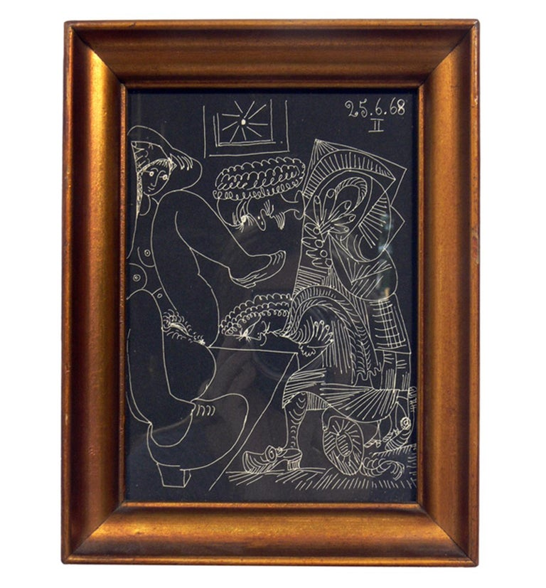 Selection of Pablo Picasso Erotic Prints, circa 1960s. They are framed in vintage gilt frames. Top row, left to right, they measure: 8.5