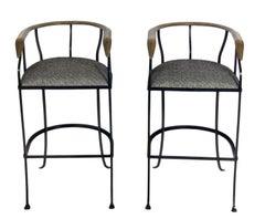 Pair of Elegant Brass and Iron Bar Stools