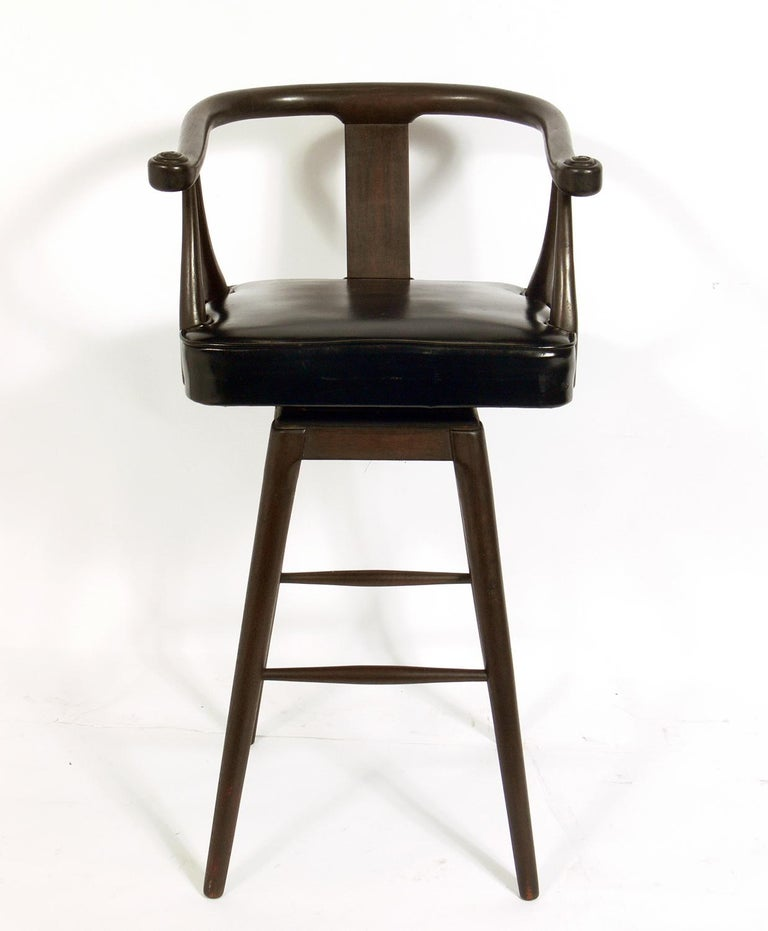 Mid-20th Century Set of Four Asian Style Midcentury Bar Stools For Sale