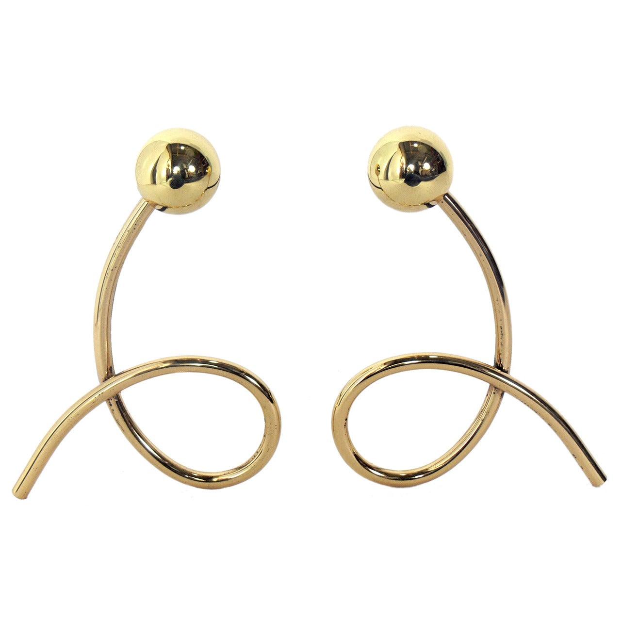 Whimsical Brass Loop Andirons