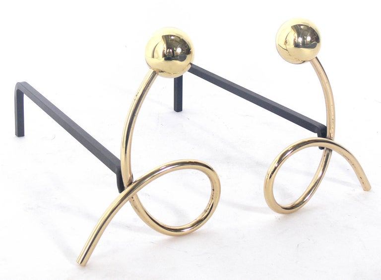 Mid-Century Modern Whimsical Brass Loop Andirons For Sale