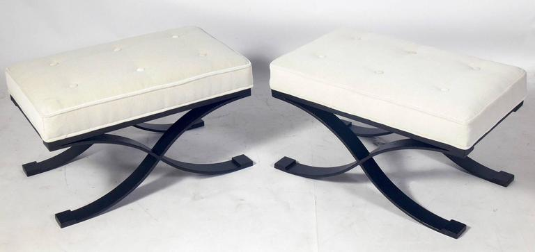 Pair of Elegant X Base Benches in Bronze Finished Metal and Ivory Velvet 2