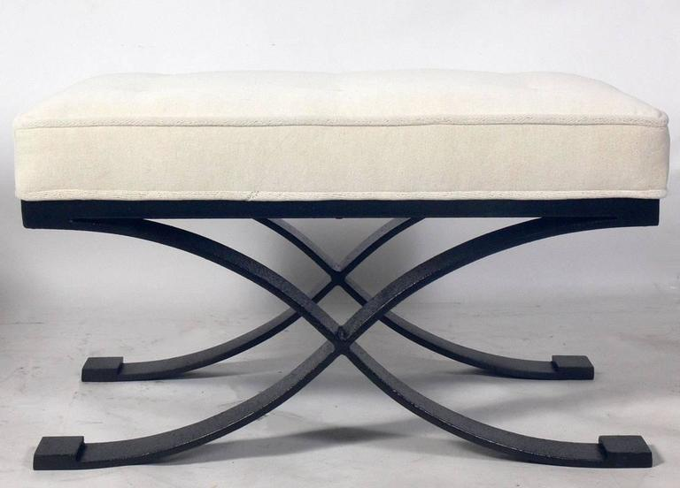 Pair of Elegant X Base Benches in Bronze Finished Metal and Ivory Velvet 3