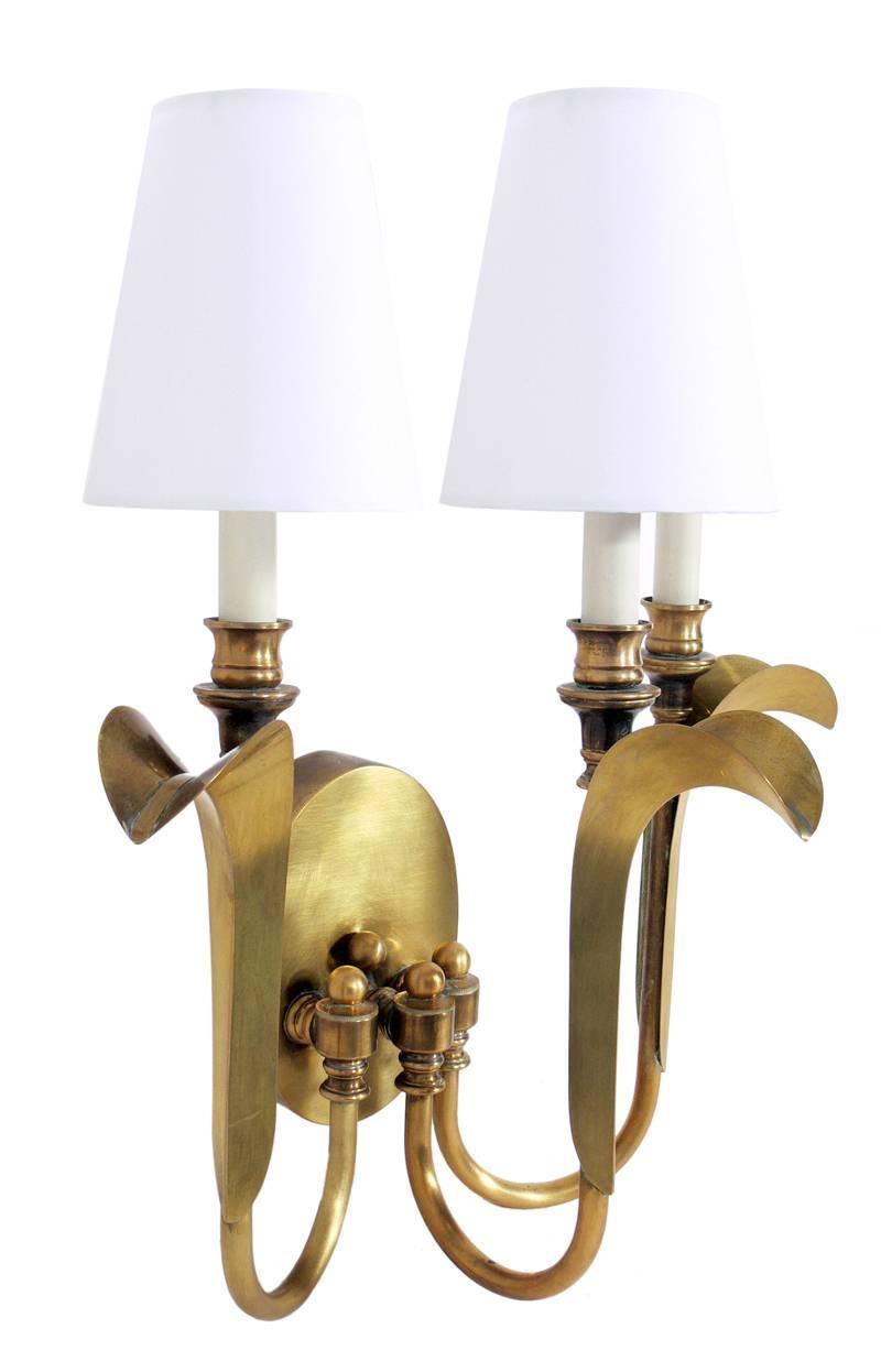 Pair of Elegant Brass Sconces at 1stdibs
