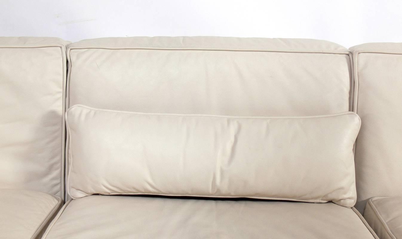 Low Slung Milo Baughman Sectional Sofa In Original Bone