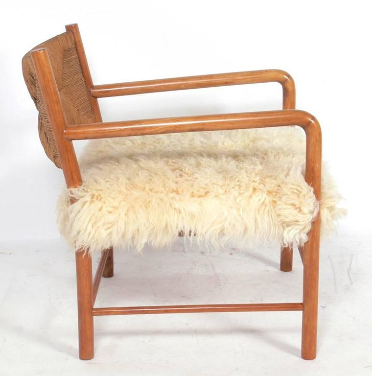 Italian Midcentury Lounge Chair In Woven Paper Cord And Sheepskin 2