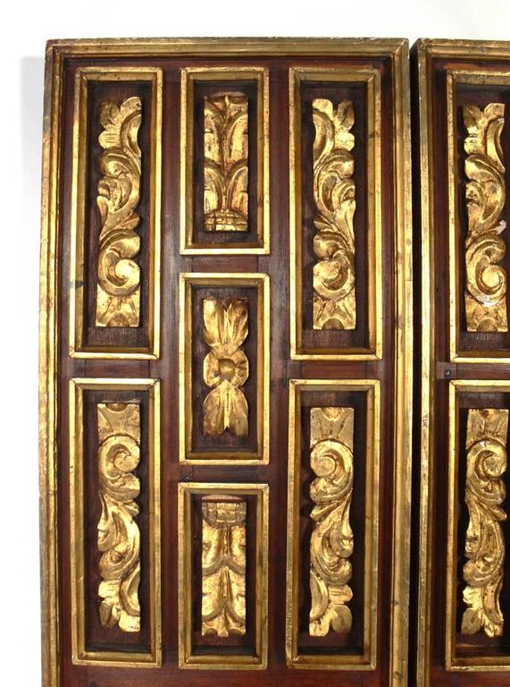 Carved Gilt Italian Folding Screen  For Sale