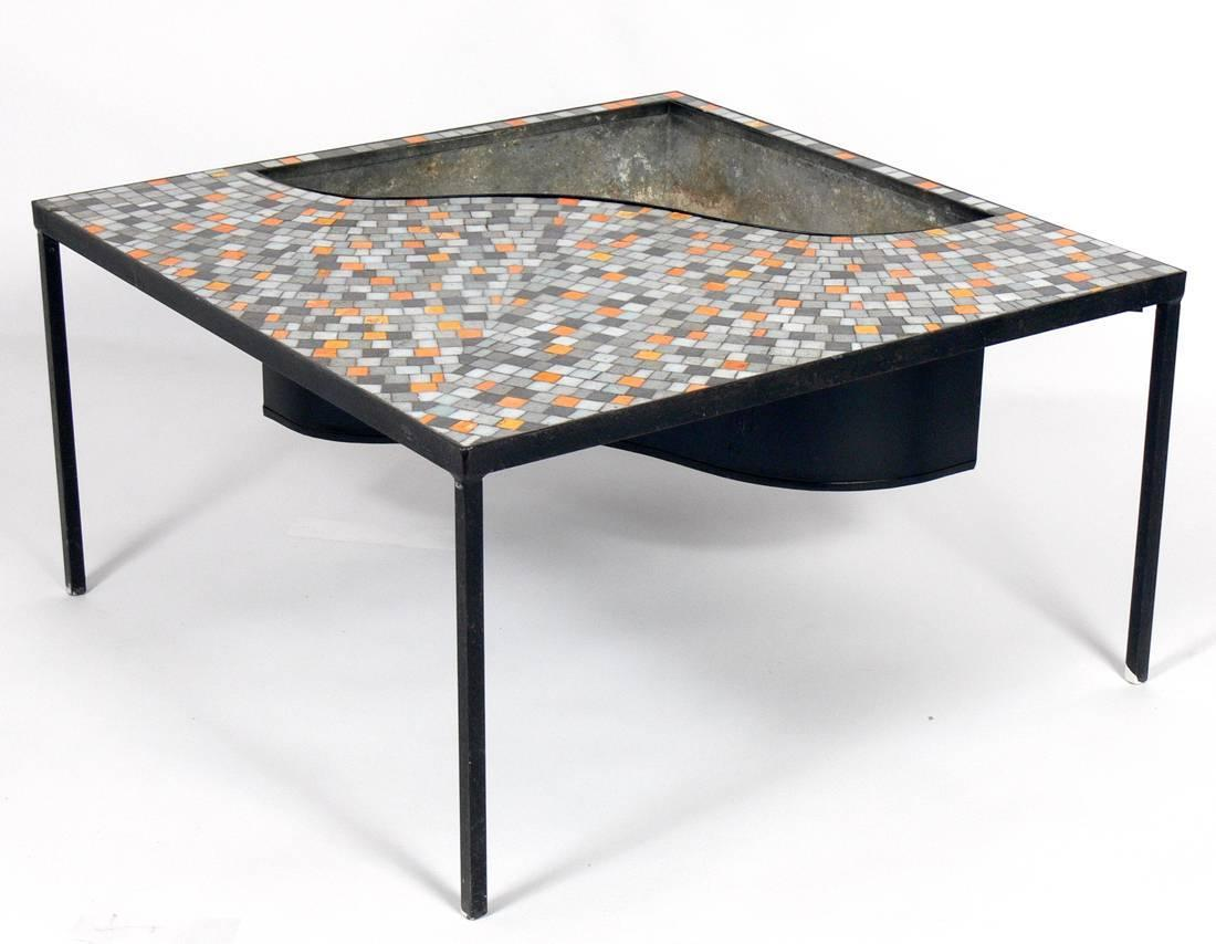 Mosaic tile coffee table with inset planter or drink for Outdoor coffee table with cooler