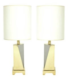 Sculptural Brass and Nickel Lamps