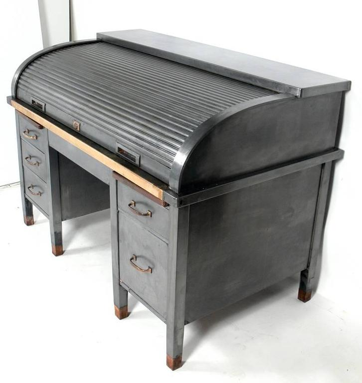 1930s Banker S Metal Roll Top Industrial Desk At 1stdibs