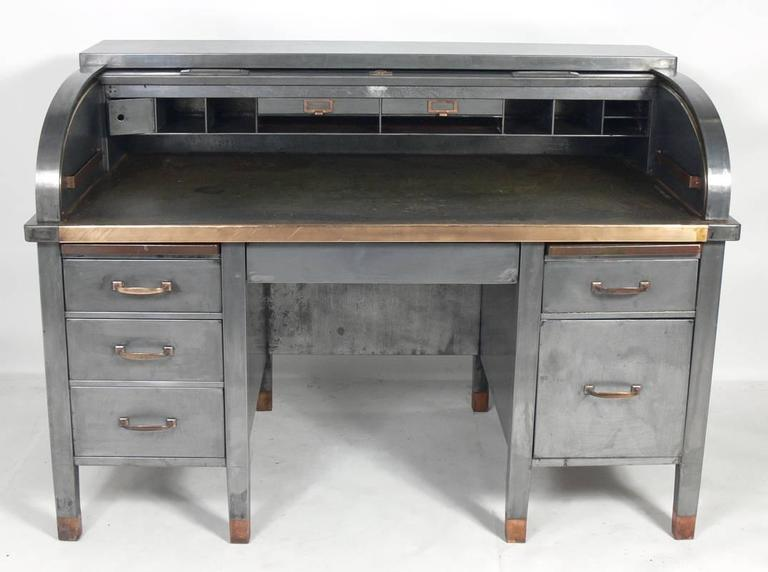 1930s banker s metal roll top industrial desk at 1stdibs rh 1stdibs com used metal desk for sale metal desk legs for sale