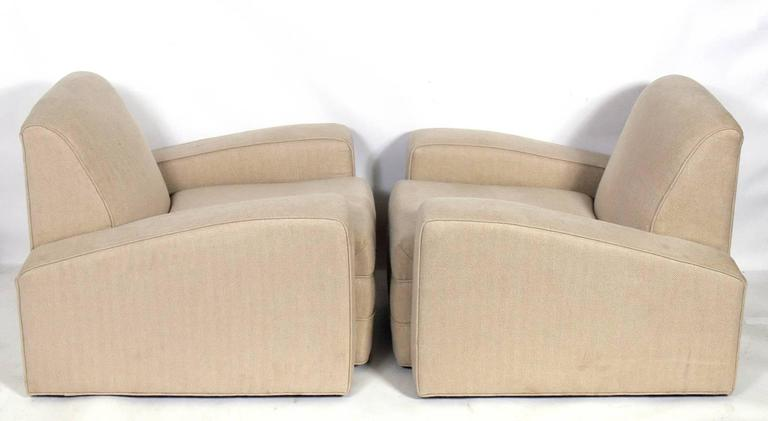 Pair of Low Slung French Art Deco Lounge Chairs In Good Condition For Sale In Atlanta, GA