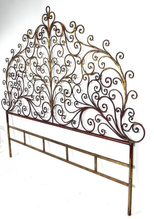 italian gilt metal king size headboard for sale at 1stdibs. Black Bedroom Furniture Sets. Home Design Ideas