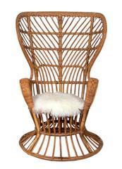 Tall Back Italian Rattan Lounge Chair