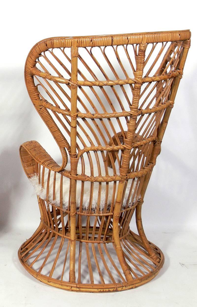 Tall Back Italian Rattan Lounge Chair at 1stdibs