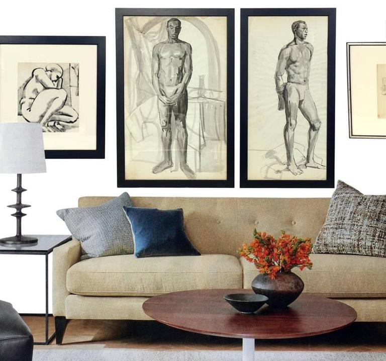 Selection of black and white nude artwork from various artists, American, circa 1950s. From left to right, as seen in the first photo, they are:  1) The kneeling female nude painting, pencil signed