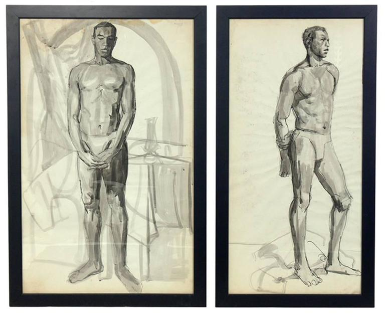 Mid-20th Century Selection of Black and White Nude Artwork For Sale