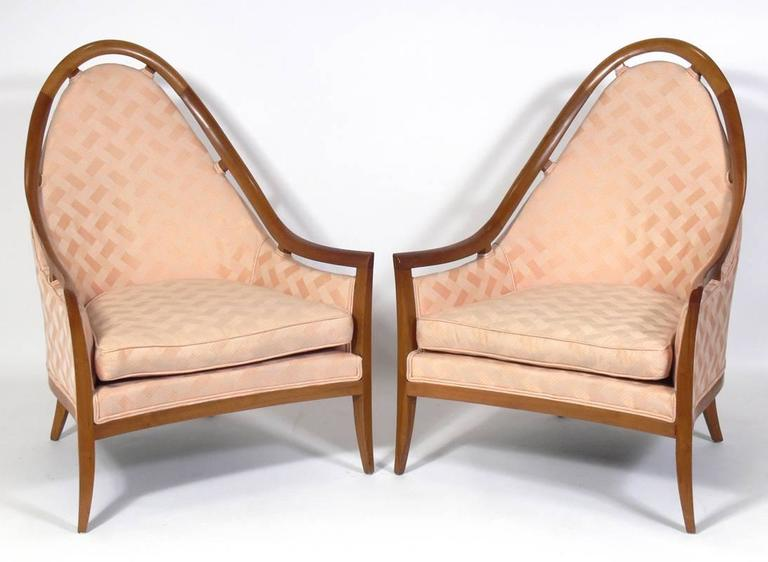 Pair of sculptural arch back chairs designed by Harvey Probber, American, circa 1960s. These chairs are currently being reupholstered and refinished. The price noted below includes refinishing in your choice of color and reupholstery in your fabric.