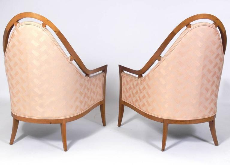 American Pair of Sculptural Arch Back Chairs Designed by Harvey Probber For Sale