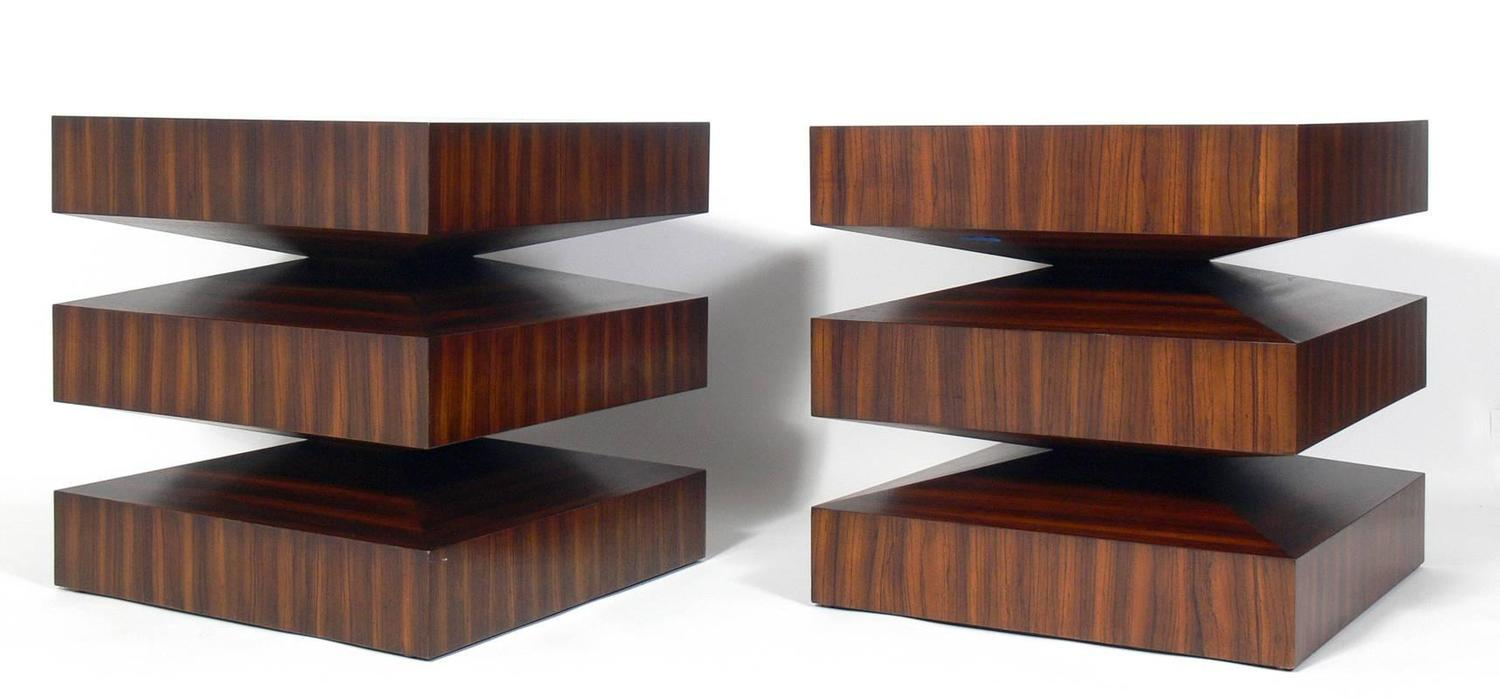 Pair Of Sculptural Zebra Wood End Tables At 1stdibs