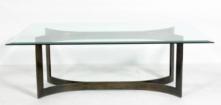 Wonderful Mid Century Modern Solid Bronze Coffee Table Base 3