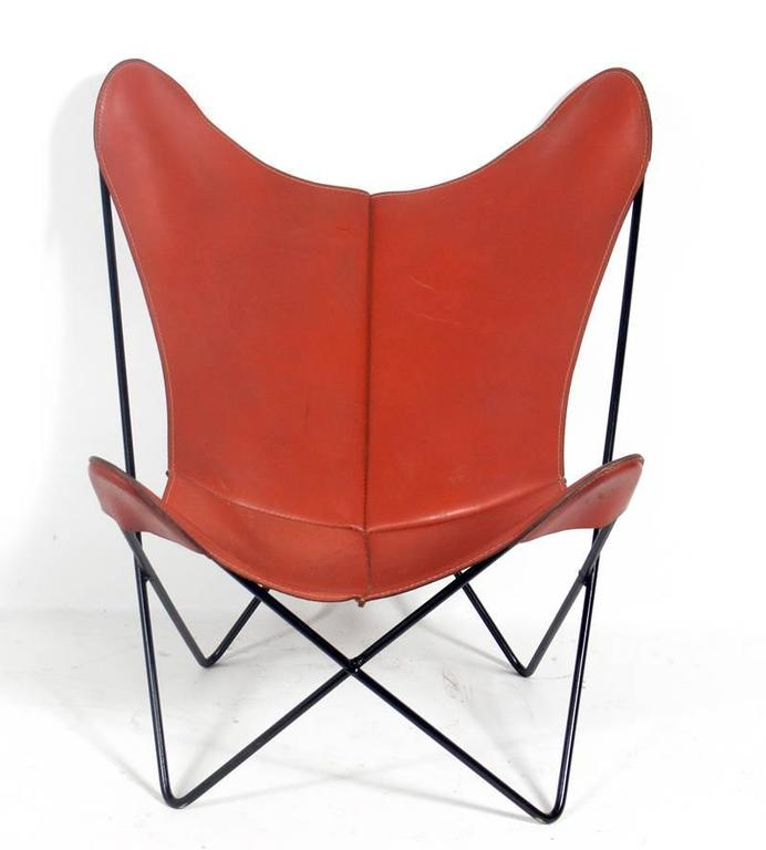 Sculptural Leather Butterfly Chair Designed By Jorge Ferrari Hardoy, Circa  1960s. Rarely Seen