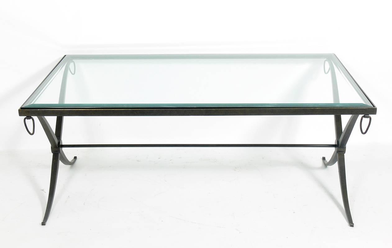 Curvaceous X Base Bronze Coffee Table For Sale At 1stdibs