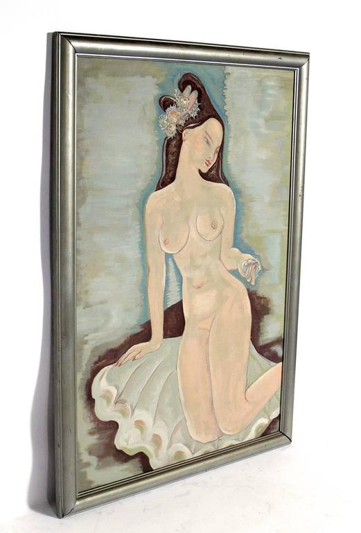 Large-scale Art Deco nude painting, probably American, circa 1930s. We are unsure of the artist that painted this work. They came from the same estate as the Aimee Seyfort paintings we have listed on 1stdibs, but this work is unsigned. Retains the