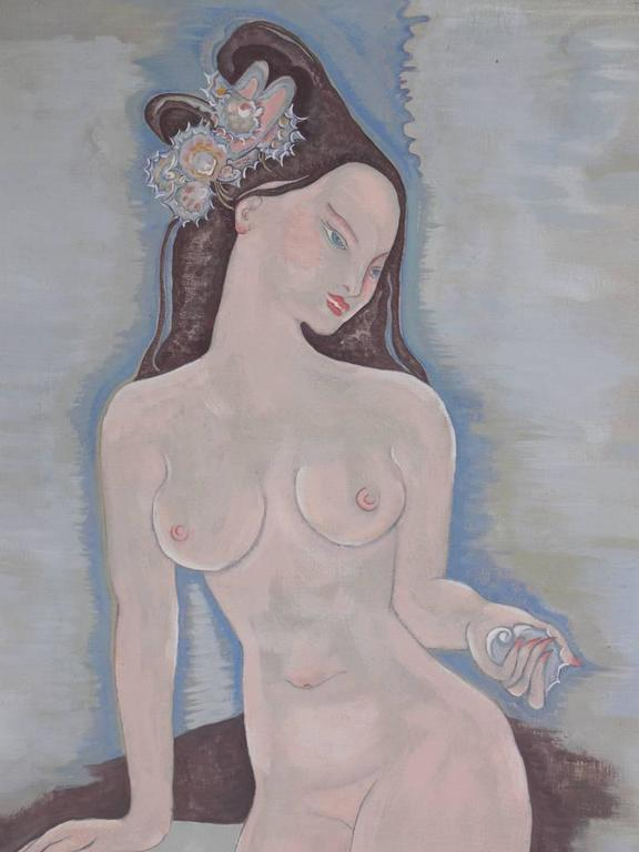 Large-Scale Art Deco Nude Painting In Good Condition For Sale In Atlanta, GA