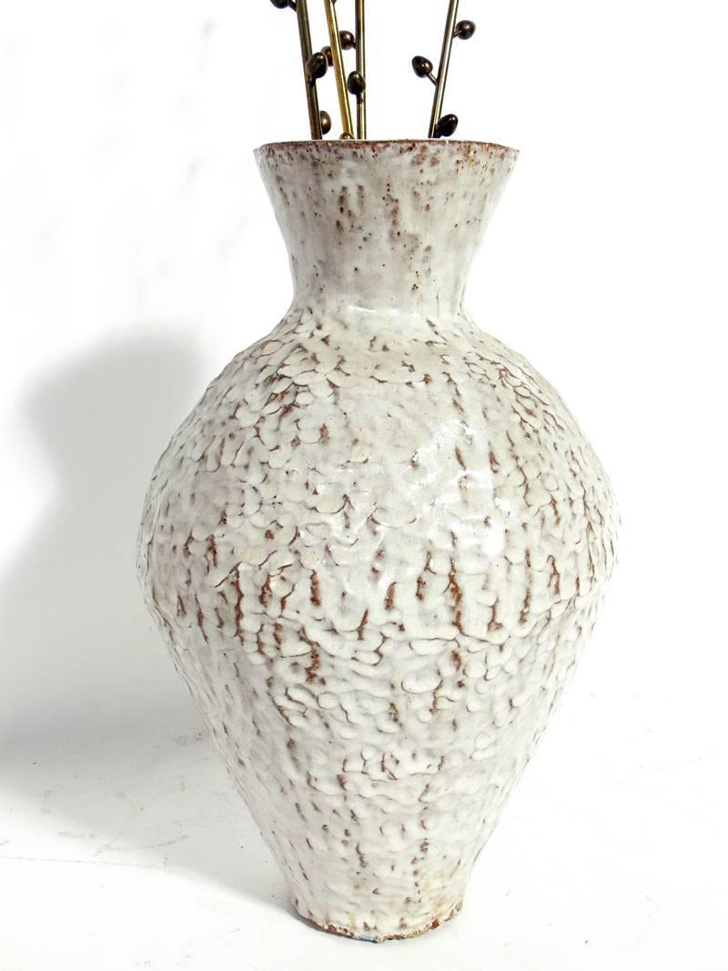 Large Scale French Ceramic Vase And Bronze Pussy Willows