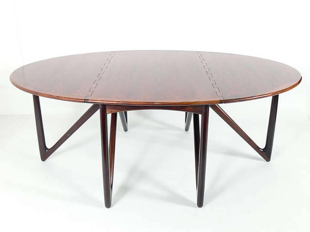 Oval Rosewood Danish Modern Dining Table By Kurt Ostervig
