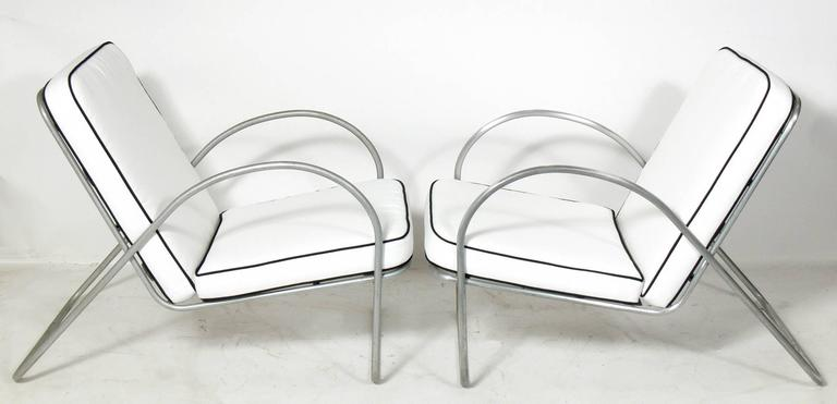 Pair of Streamlined Aluminum Chairs Attributed to Richard Neutra For