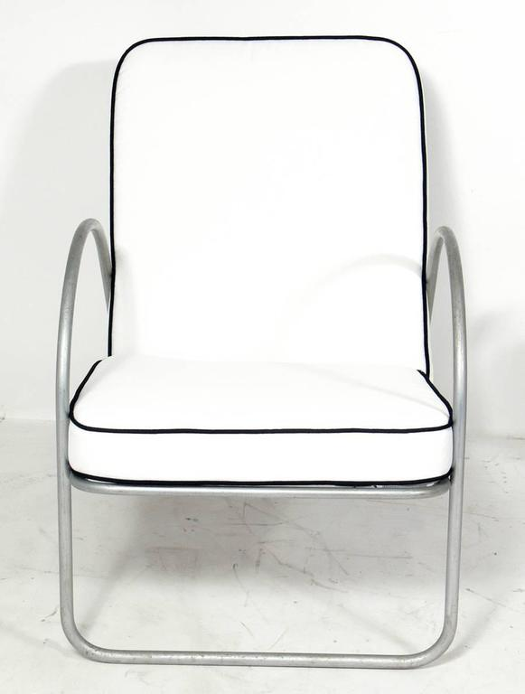 Pair Of Streamlined Aluminum Chairs Attributed To Richard