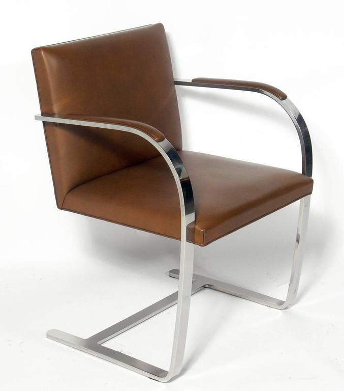 "Set of Six ""Brno"" model chrome and leather dining chairs, designed by Mies van der Rohe for Knoll, circa 1960s. They retain their original cognac color leather. They are in very good general condition with some usual wear to most of the leather. One"