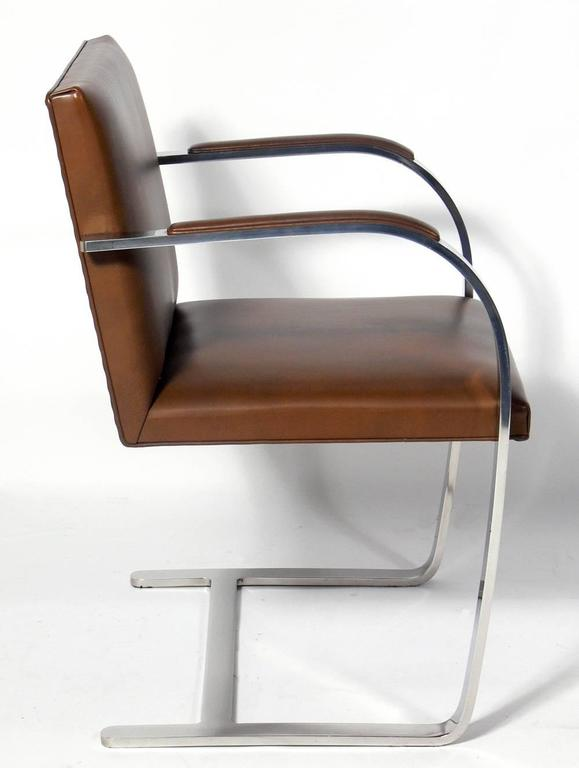 Mid-Century Modern Set of Six Knoll Brno Chrome and Leather Dining Chairs For Sale