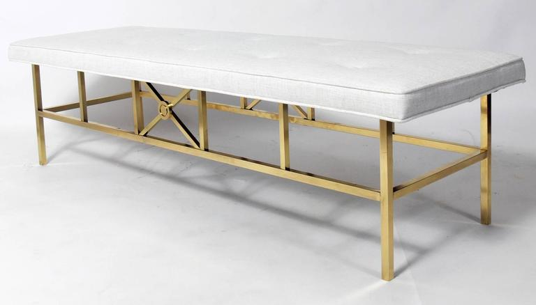 Mid-Century Modern Elegant Modern Brass Bench For Sale