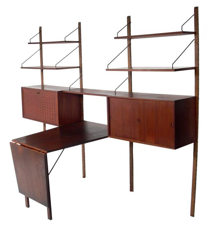 Danish Modern Teak Wall Unit Or Home Office By Poul